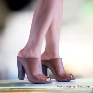 Mash08 Peep Toe Slip On Mule Block High Heels
