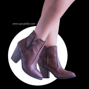 Arrogant Almond Toe Western Block Faux Wooden Heel Ankle Boots