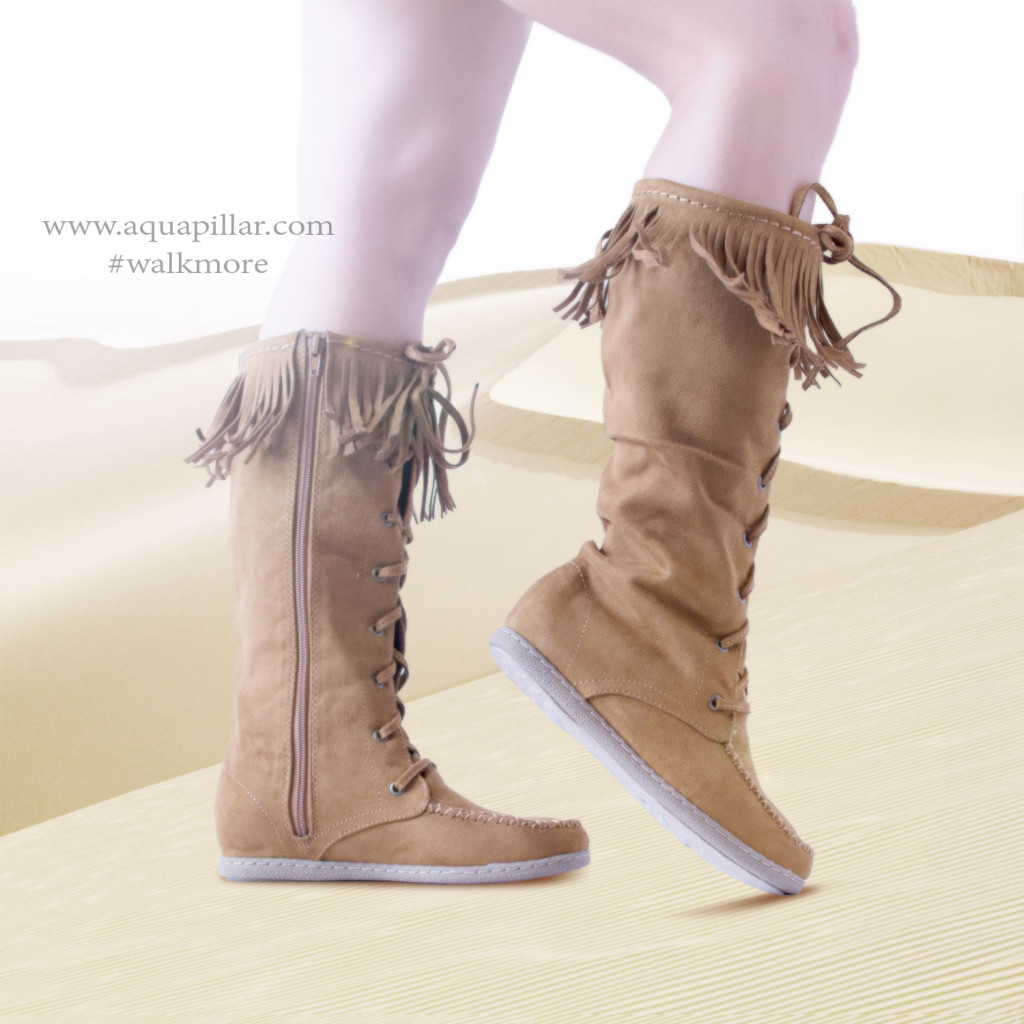 Vinery Knee High Fringe Lace Up Moccasin Flat Boots