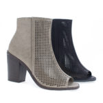 Anajay Peep Toe Laser Perforated Chunky Heel Ankle Booties