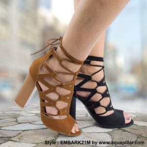 Embark21M Peep Toe Ghillie Leg Wrap High Block Heel Dress Sandals