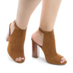 Embark03M Peep Toe Sling Back Faux Wooden High Heel Sandals