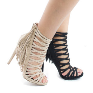 Evelyn69 Caged Fringe Zip Up Stiletto High Heel Dress Sandals