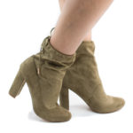 Kenzy3 Drawstring Chunky High Heel Ankle Boots