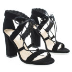 Luciana91 Open Toe Lace Up Block High Heeled Sandals