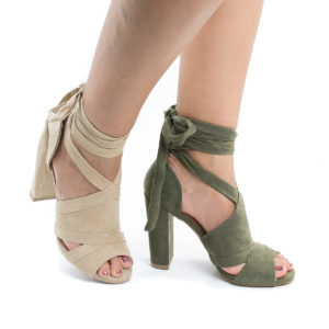 Morris28 Peep Toe D'Orsay Leg Wrap Block Heel Dress Sandals