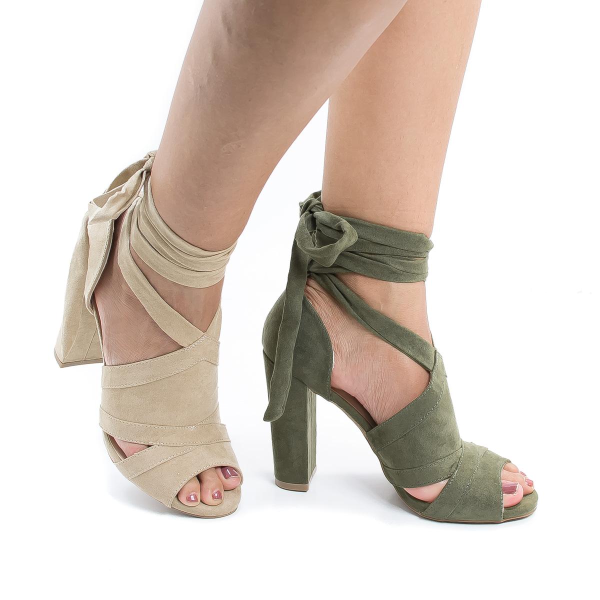Morris28 Peep Toe D'Orsay Leg Wrap Block Heel Dress Sandals