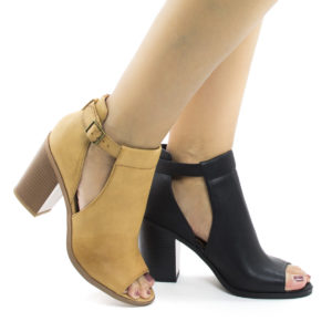 Quality Peep Toe Ankle Buckle Strap Slit Stacked Heeled Sandals