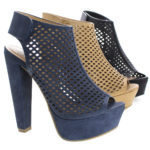 Rotary Peep Toe Perforated Chunky Heel Platform Pumps