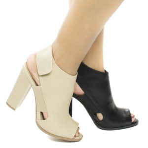 Emilia26 Peep Toe Sling Backed Dress Sandal On Chunky Block High Heel