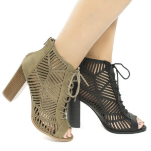 Message Peep Toe Geometric Cut Out Lace Up Heeled Sandals