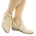 Mojave03 Women Western Pull On Ankle Booties W Side Slit & Metal Detail